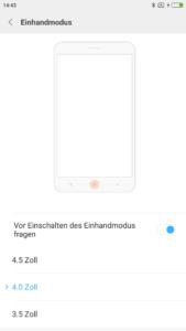 Xiaomi Redmi Note 4 Einhandmodus