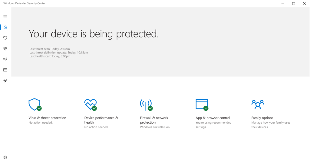 Windows 10 Creators Update - Windows Defender Security Center