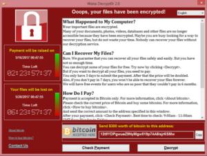 Screenshot der WannaCry-Ransomware