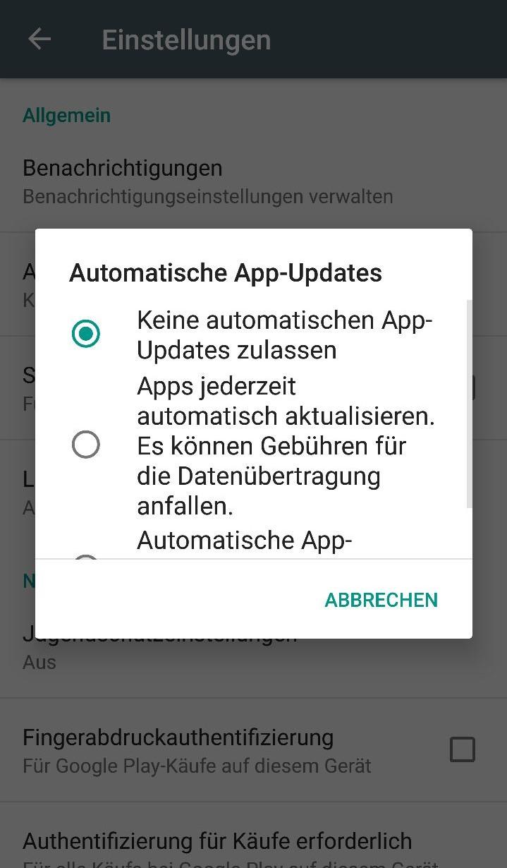 Automatische Updates deaktivieren