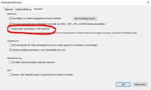 Lightroom XMP Einstellungen