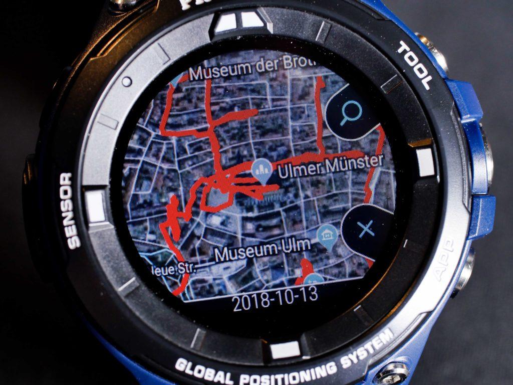 Die zurückgelegte Strecke lässt sich auf dem PC oder wahlweise direkt auf der Uhr anzeigen.