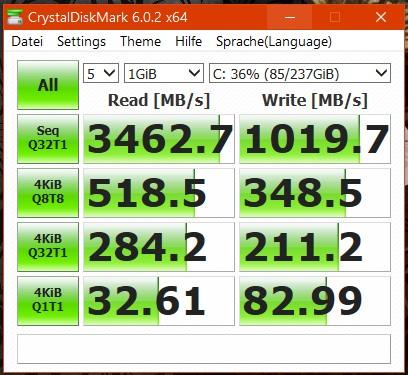 Die installierte SSD aus dem Hause Samsung stemmt ordentliche Werte