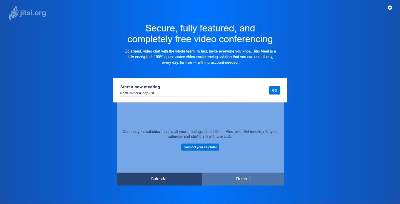Startseite von JItsi Meet